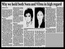 MEMORABILIA - News Clippings - Nora and Vilma